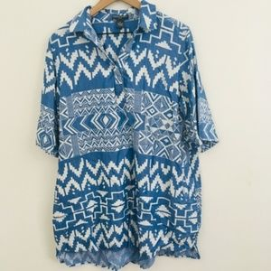 Chelsea & Theodore Denim Aztec Shirt Dress 1X